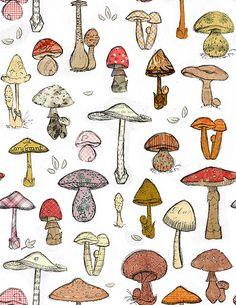 Mushroom Pattern White