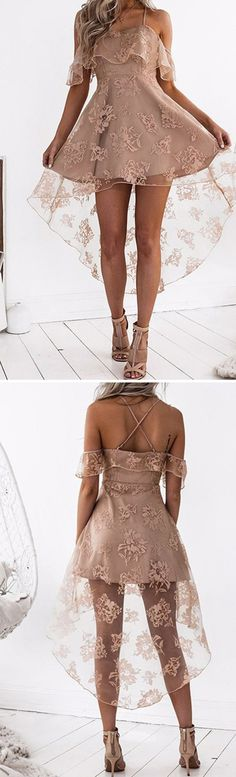 simple blush homecoming dresses, chic lace fashion gowns, semi formal dresses, chic hi-low prom dresses. outfits or dresses A-Line Off-the-Shoulder High Low Blush Sleeveless Lace Homecoming Dress Cheap Homecoming Dresses, Hoco Dresses, Pretty Dresses, Beautiful Dresses, Wedding Dresses, Graduation Dresses, Wedding Shoes, Blush Dresses, Freshman Homecoming Dresses