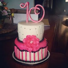 Rhinestone and flower cake
