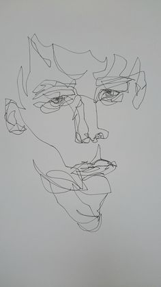 Potrait Drawing Fernweh by Emil Ett. Ink on Paper. Continous Line Portrait - Abstract Portrait, Abstract Drawings, Art Drawings, Drawing Faces, Sad Artwork, Line Artwork, Blind Contour Drawing, Contour Drawings, Continous Line Drawing