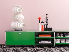 green credenza TV unit