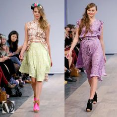 Vancouver Fashion Week - Gretchen Jones Batik & custom Shoes of Prey in Hot Pink and Black