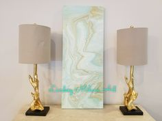 Lindsey Milam Art, abstract art, coastal, turquoise, gold, white, mint, acrylic art