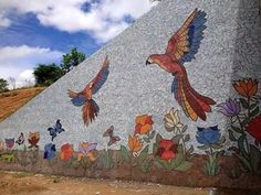 Amazing wall mural with flowers and parrots