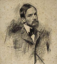 Portrait of Lucien Simon Ramon Casas y Carbó – 1900 Portrait Sketches, Pencil Portrait, Portrait Art, Art Sketches, Drawing Portraits, Fine Art Drawing, Life Drawing, Painting & Drawing, Academic Drawing