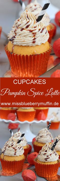 [Anzeige] Pumpkin Spice Latte Cupcales // Kürbis Cupcakes mit Kaffeebuttercreme <3 Pumpkin Spice Muffins, Pumpkin Spice Cupcakes, Pumpkin Cookies, Low Carb Cupcakes, Cupcake Recipes From Scratch, Homemade Graham Crackers, Cake Toppings, Frosting Recipes, Cupcake Cakes