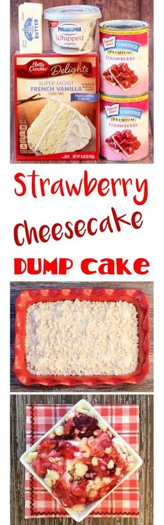 Dump Cake Recipes make the best desserts!  This EASY Strawberry Cheesecake Dump Cake is just 4 ingredients, and one of my absolute favorites.  SO yummy!! | TheFrugalGirls.com (Christmas Cake Flavors)