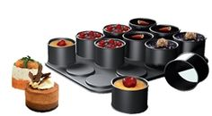 Create eye-catching desserts, savory appetizers, and gourmet side dishes with Ring Mold Creations from Frieling. Each ring mold conveniently snaps onto the baking base for perfectly and uniformly round servings every time. Individual Desserts, Mini Desserts, Baking Desserts, Baking Cupcakes, Sweet Desserts, Mini Cakes, Cupcake Cakes, Mini Cake Pans, Tea Cakes