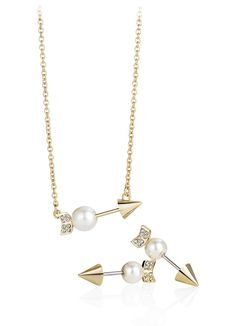 Rebecca Minkoff Arrow Pendant Necklace Chain necklace featuring arrow-shape pendant embellished with rhinestones and single faux pearl & Earrings