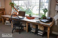pallet wood farm table styled desk via http://www.funkyjunkinteriors.net/