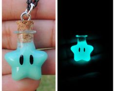 Mario Invisibility star glow in the dark star necklace (Aqua color)