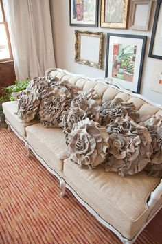 Tan Taupe Mix Ruffle Rose Pillow  Large by thatfunkyboutique, $42.00