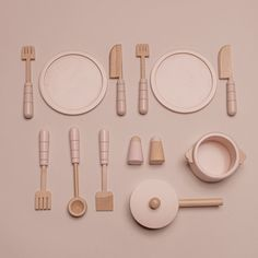 Wooden Cooking Set in Pink ⇒ Made from solid wood ✓ Fun pretend play toy for all children ⇒ See the entire wooden toy kitchen collection here Wooden Toy Garage, Wooden Toy Kitchen, Wooden Toy Boxes, Mini Kitchen, Miniature Kitchen, Wooden Dolls, Kids Play Corner, Toy Kitchen Accessories, Toys