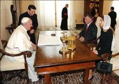 """Pope Francis meets with King Abdullah II of Jordan -   """"Particular attention was given to the crisis in Syria. It was said that the path of dialogue and negotiation between all components of Syrian society, with the support of the international community, is the only option for putting an end to the conflict and the violence which every day claims many lives, including the helpless civilian population."""""""