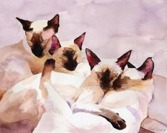 Print Siamese Cat Art from Watercolor Painting.