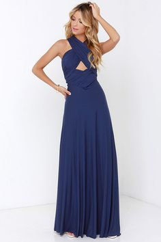 Versatility at its finest, the Tricks of the Trade Navy Blue Maxi Dress knows a trick or two! Long fabric wraps into several bodice styles. Navy Blue Prom Dresses, Affordable Bridesmaid Dresses, Bridesmaid Dresses Online, Blue Maxi, Homecoming Dresses, Long Dresses, Maxi Dresses, Long Gowns, Floral Dresses