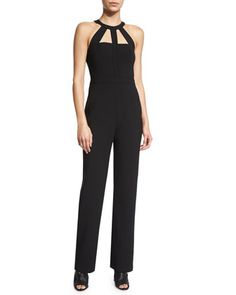 Marlin Straight-Leg Jumpsuit W/Cutouts, Black by BCBGMAXAZRIA at Neiman Marcus.