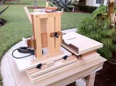 Horizontal Mortise Machine by woodshaver -- Homemade horizontal mortise machine constructed from wood in accordance with the Matthias Wandel plans. Powered by a Porter-Cable router. http://www.homemadetools.net/homemade-horizontal-mortise-machine