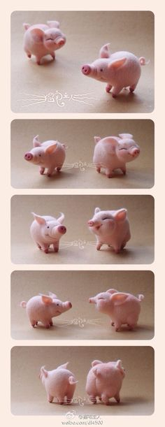 I'm not necessarily into pigs or felted critters but these are just the cutest.  Adorable! Look at their faces.....Wool Felt Pigs