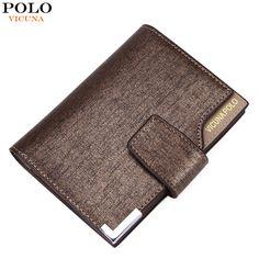 Vicuna polo italien berühmte marke männer brieftasche hohe qualität pu leder trifold wallet große kapazität kurze metall brieftasche für mann