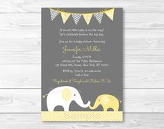 Yellow & Grey Chevron Elephant Baby Shower by LittlePrintsParties