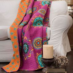 Perfect draped over an arm chair or folded at the foot of your bed, this cotton throw showcases a patchwork medallion motif for eye-catching style. ...