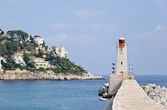 Le phare de Nice (Alpes-Maritimes, France) ~ The lighthouse of Nice, on the Mediterranean coast (French Riviera aka Cote d'azur) [photo by Myrabella] Nice, South Of France, Monaco, Oh The Places You'll Go, Places To Visit, Nice Ville, Light Of The World, French Riviera, Provence