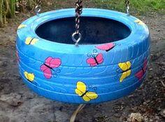 Tire Swing in blue with butterflies from www.cooltireswings.com
