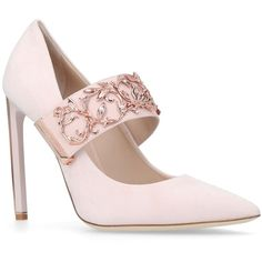 Ralph & Russo Empire Strap Pumps 120 ($1,705) ❤ liked on Polyvore featuring shoes, pumps, stiletto shoes, suede pumps, strap shoes, stiletto pumps and high heel stilettos