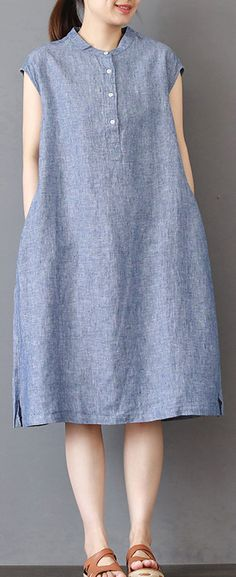blue pure linen dress plus size shirt dress New sleeveless stand collar cotton dresses