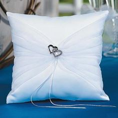 Double Crystal Heart White Satin Wedding Ring Bearer Pillow ** Find out more about the great product at the image link.