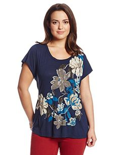 Fashion Bug Womens Plus Size Cascading Floral Tee.  www.fashionbug.us #curvy #plussize #FashionBug