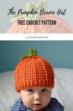 Pumpkin beanie hat free crochet pattern by HanJan Crochet - easy halloween  crochet pattern 2a7f83426ab