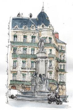 Grenoble : Place notre Dame la fontaine des 3 ordres