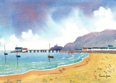 Original Watercolour Mumbles Swansea Wales with new boat house