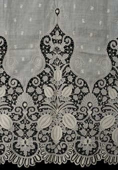 Hand-embroidered cutwork panel, The exquisite cutwork panel of cotton batiste came from a wealthy New England estate. The upper portion is embroidered with small floral sprigs. White Embroidery, Vintage Embroidery, Antique Lace, Vintage Lace, Lace Patterns, Embroidery Patterns, Embroidery Thread, Embroidery Transfers, Lace Curtains