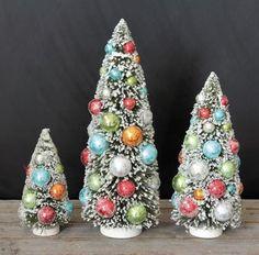 Festive Christmas Bottle Brush Trees - The Holiday Barn
