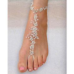 Elegant Pearl Foot Jewelry Barefoot Sandals for Weddings