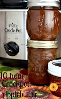 Crockpot Apple butter in 10 hours -- I made this and it turned out awesome! My apple peels didn't come off like her's did so half way through I just took it all out, pureed it in the food processor, and then put it back in the crockpot to finish cooking.