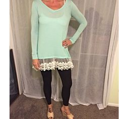 Light Mint Tunic or Dress W/Lace on Bottom Size S They are here!!! I have all sizes available: S(2-4), M(6-8), & L(10-12). This is a beautiful light mint colored tunic top (or dress) with sheer, lace detail bordering the bottom hem. These are exceptionally made and look great with leggings, jeans, skirts, etc, so it's a very versatile piece and can be dressed up or down. I'm modeling the Small. Price is firm unless bundled. You CAN purchase this listing. I have made separate listings for…