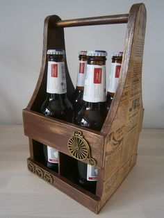 Decoupage stand for a beer, beer rack, czteropak, stojak na piwo