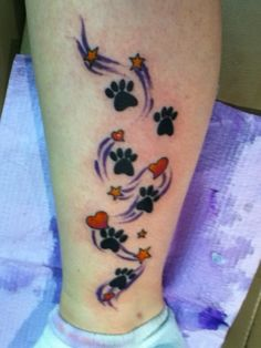 My second tattoo. Cat paws with hearts and stars!!!! <3