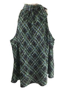 Lane Bryant #WomenPlusSize 26 Halter Top Side Neck Tie Satin Blue Brown Print Blouse #LaneBryant #Blouse