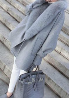Grey Plain Pockets Faux Fur Turndown Collar Oversized Wool Coat - Outerwears - Tops Fake of course Boutique Fashion, A Boutique, Faux Fur Collar, Fur Collars, Looks Style, Style Me, Beautiful Outfits, Cute Outfits, Stylish Outfits