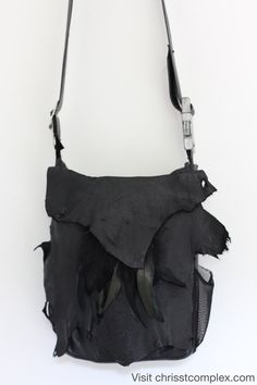 Black Leather Messenger Bag CHRISST 4 LIFE by Chrisst4life