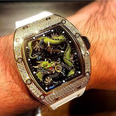 Richard Mille Jacky Chan Edition in Rosegold & Diamond case. Fine Watches, Men's Watches, Cool Watches, Jewelry Watches, Most Expensive Rolex, Expensive Watches, Richard Mille, Amazing Watches, Beautiful Watches