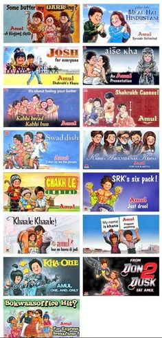 All Amul ads of SRK films over the years thanks to @Lunaa_Me .