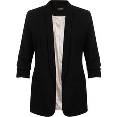 Miss Selfridge Ruched Sleeve Tux Jacket, Black (140 PLN) ❤ liked on Polyvore featuring outerwear, jackets, blazers, tux jacket, short blazer, black blazer, black dinner jacket and black tux jacket