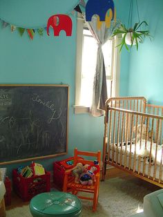 We could deal with a lot less going on, but it's the way to do a brightly-colored nursery...