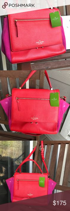 """KATE SPADE """"Anderson"""" Red & Pink Purse Red is here to stay y'all. Make a statement with this beautiful, KATE SPADE """"Anderson"""" Bag. USED ONCE. Excellent condition! Red Leather with Pink Suede panels on either side. Black & White strips inside. Gold accents. MAKE AN OFFER TODAY! kate spade Bags Crossbody Bags"""